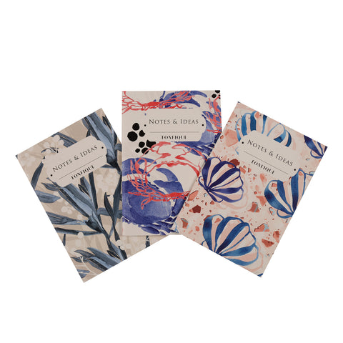 Pocket Notebooks - Set of Three - Crab Blue / Seashell Blu / Cradle Lily Blue