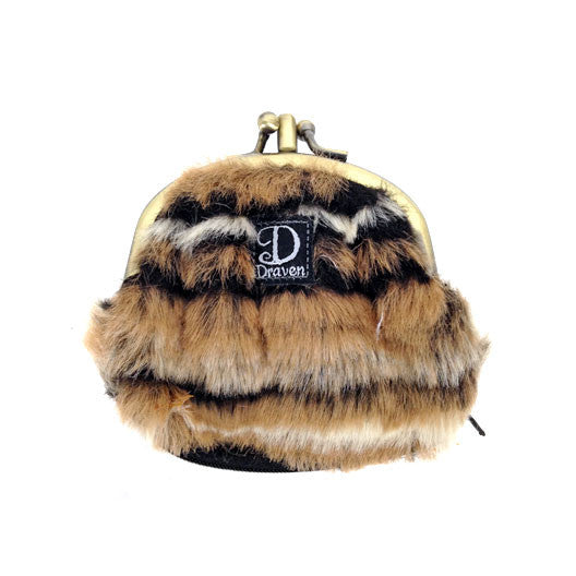 Fur Coin Purse - Brown zebra print