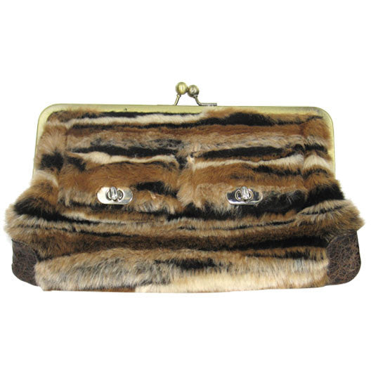 Fur Clutch Purse - Brown