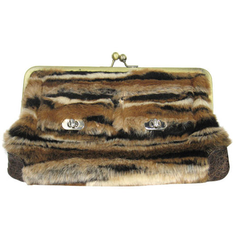 Draven Brown Fur Clutch Wallet