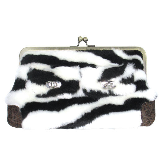 Zebra Fur Clutch Purse - Black/White