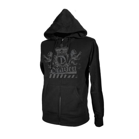 Draven Lion Crest Zip Up Hoodie-Blk/Gry