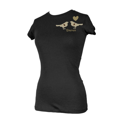 Draven Girls Faded Birds T-Shirt-Blk