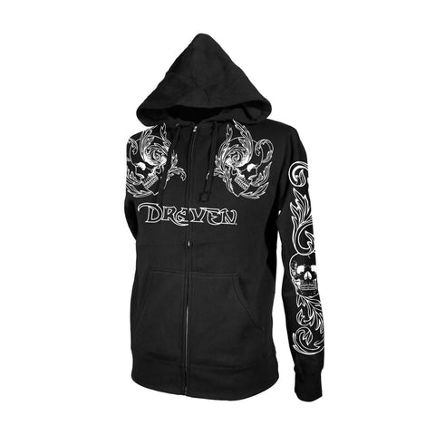 Draven Men's Double Skull Zip Up Hoodie-Brn