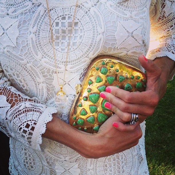 A Summer Wedding with the Bendall Clutch in Green Turquoise.