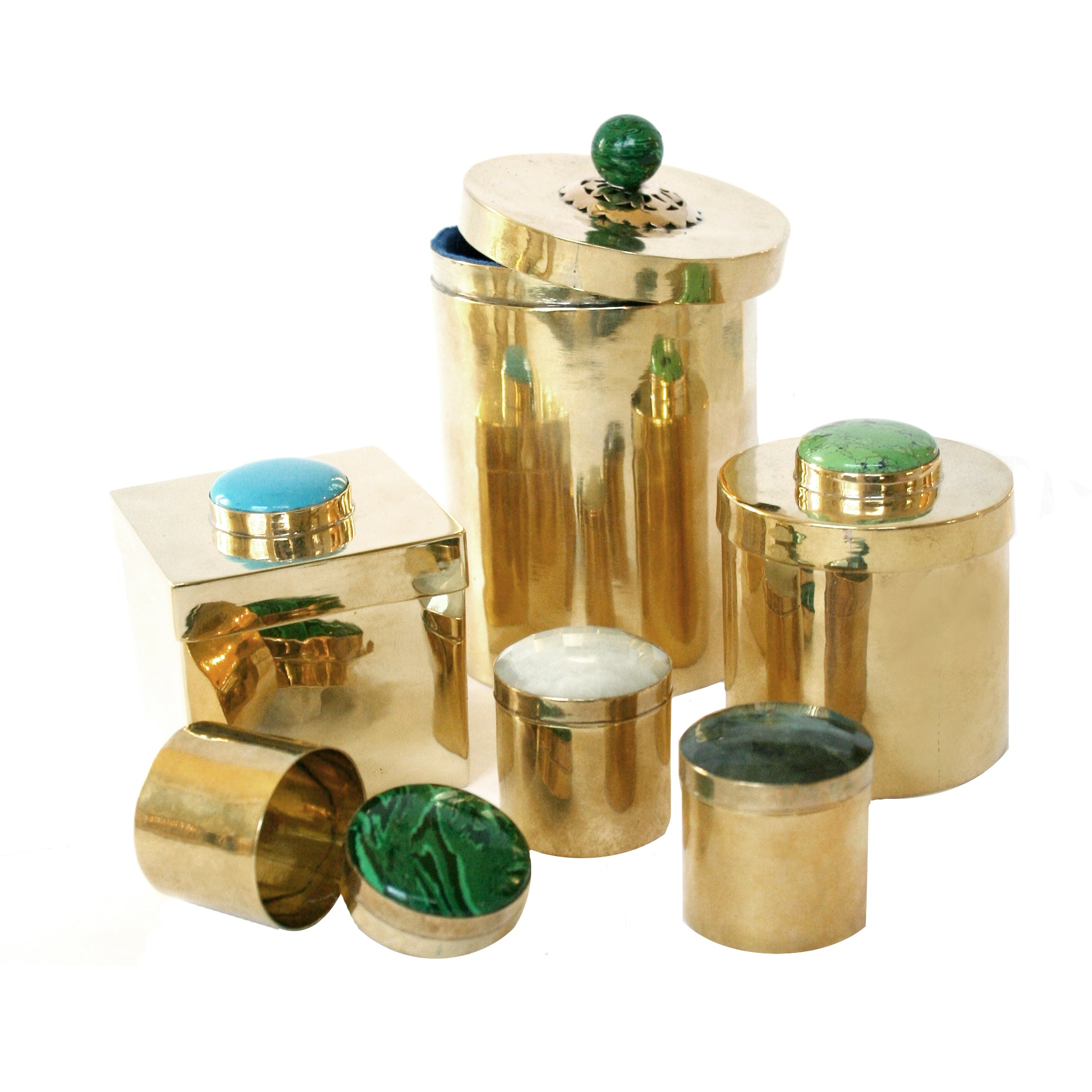 Brass Boxes in Various Sizes and Gemstones.
