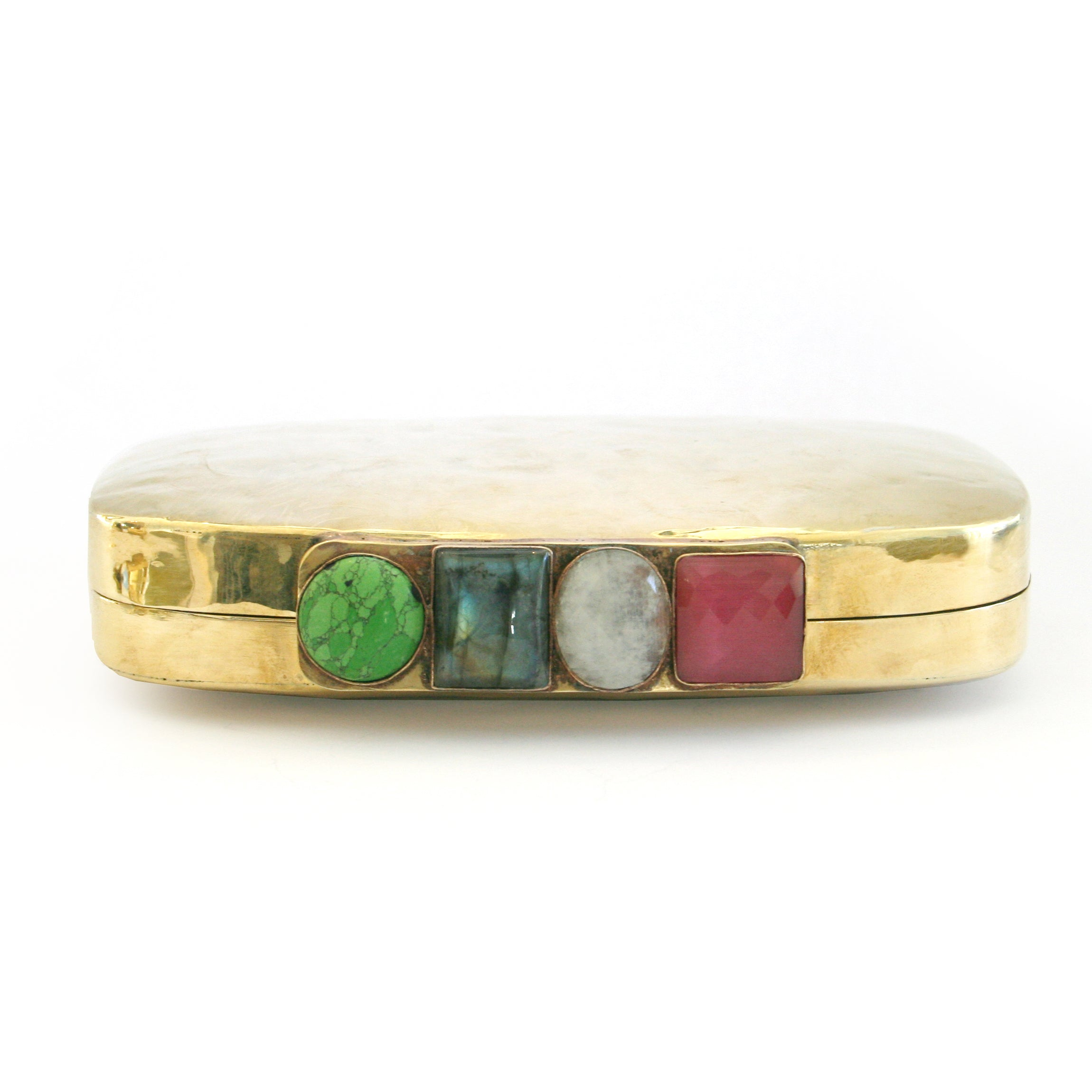 Jenkins Brass Clutch in Mutli Gemstones
