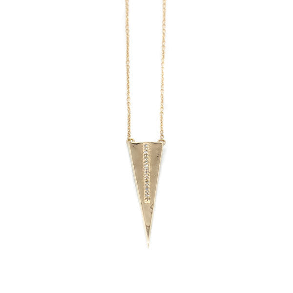 Long Gold Triangle with Diamonds - Necklace - frannieb