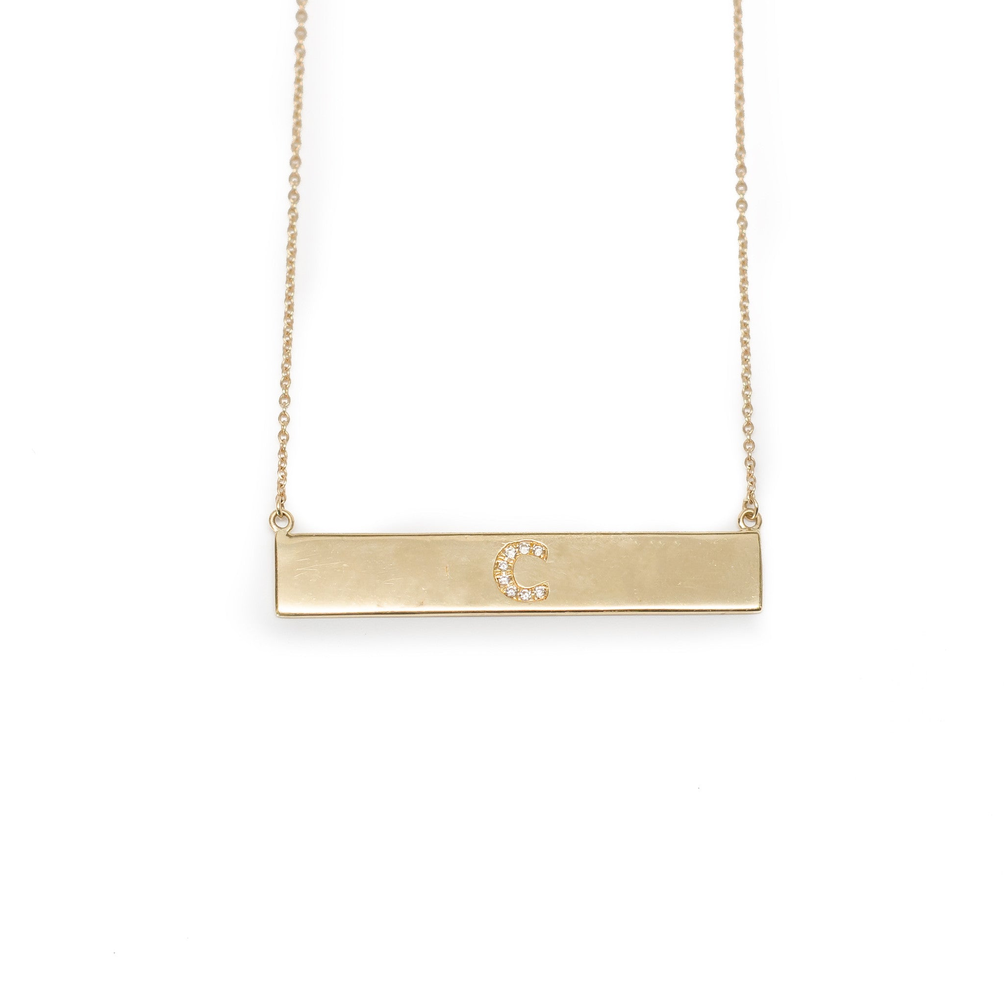 Bar Necklace with Diamond Letters or Numbers