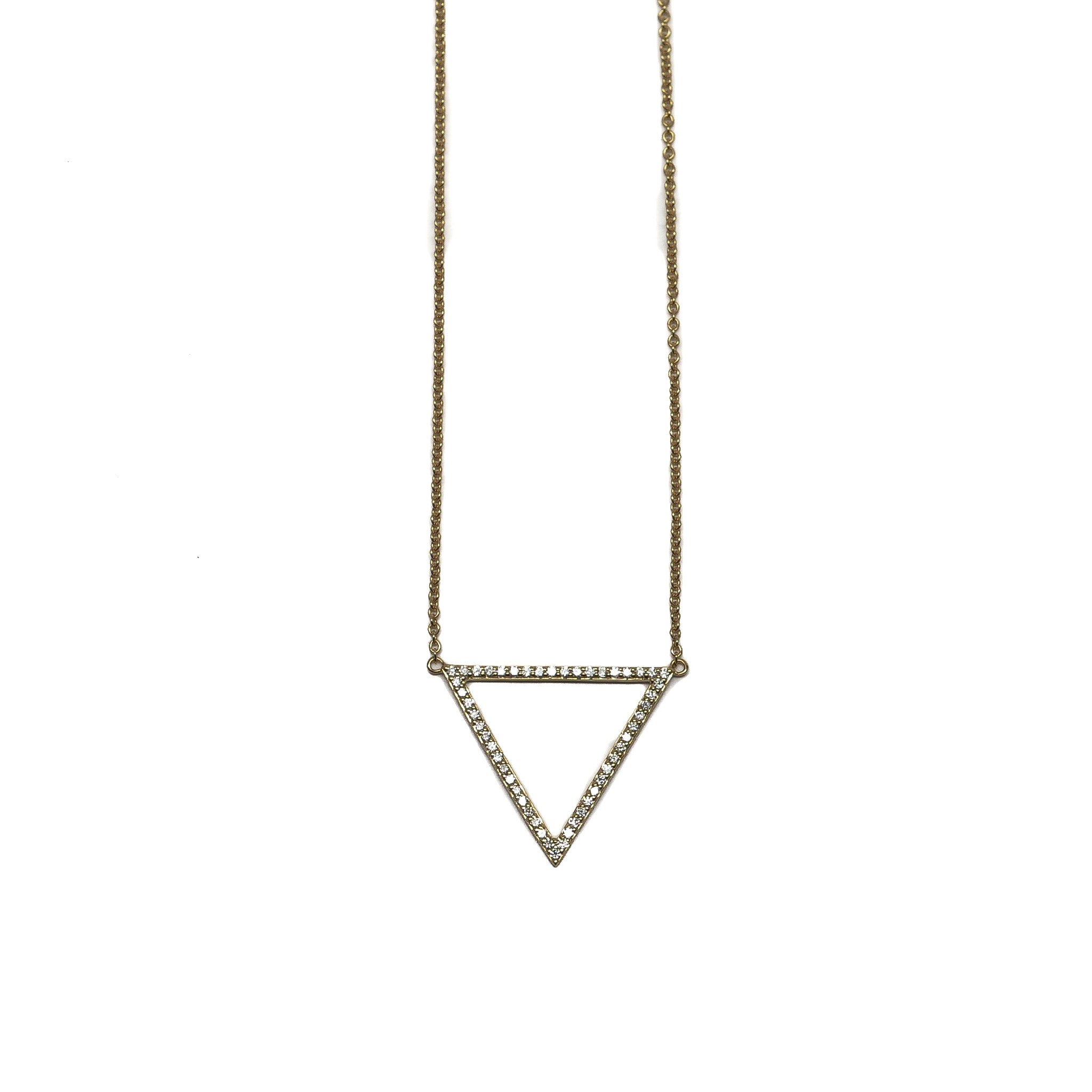 Open pavé triangle necklace
