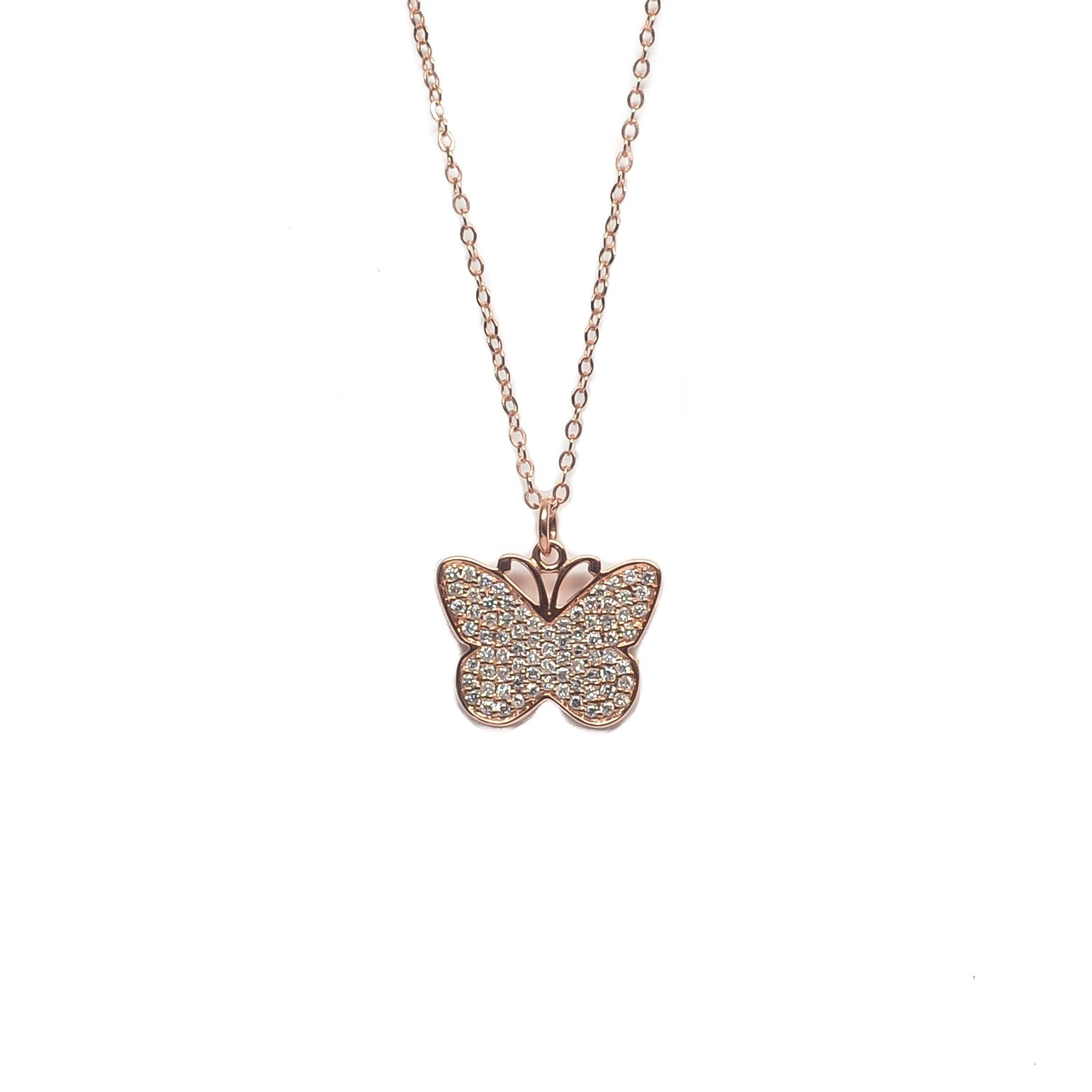 Pavé Diamond Butterfly Pendant