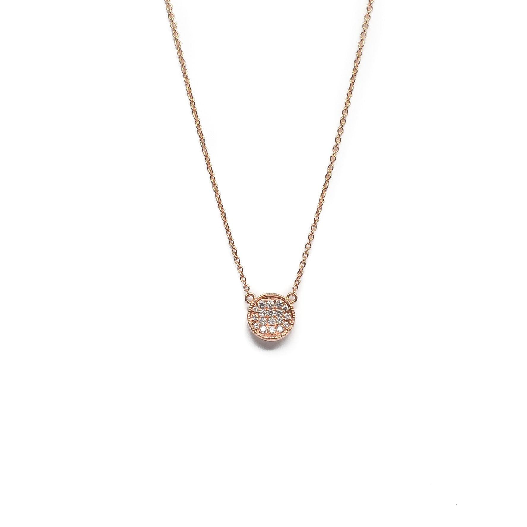Mini Pavé Diamond Disc Necklace