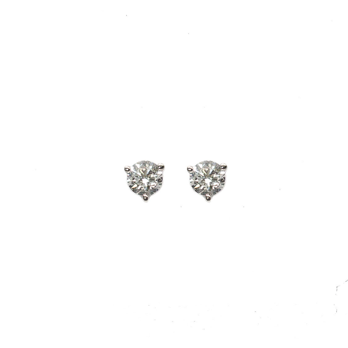 earrings i carat ctw white h prong round tw gold diamond stud in basket