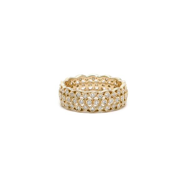 Diamond Pave Band with Scalloped Edge - Ring - frannieb