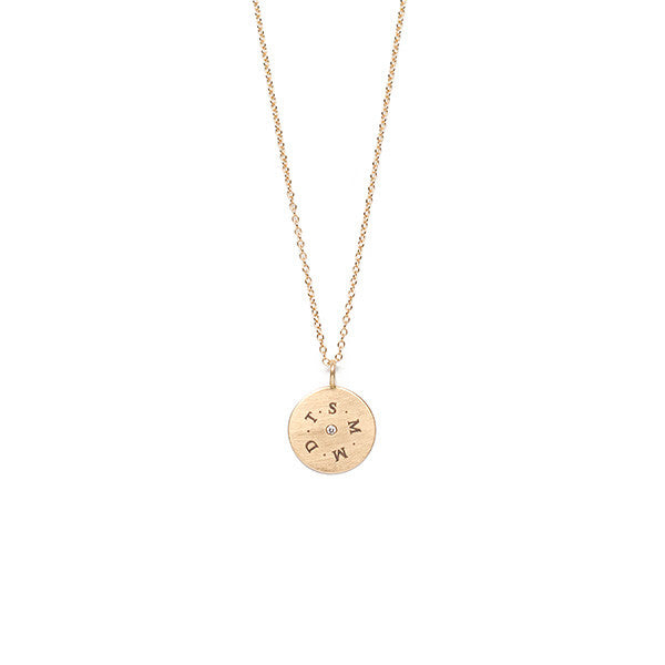 Engravable Charm with Diamond on Chain - Necklace - frannieb