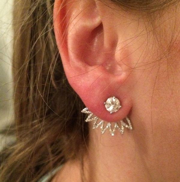 Diamond Flower Ear Jackets - Earrings - frannieb