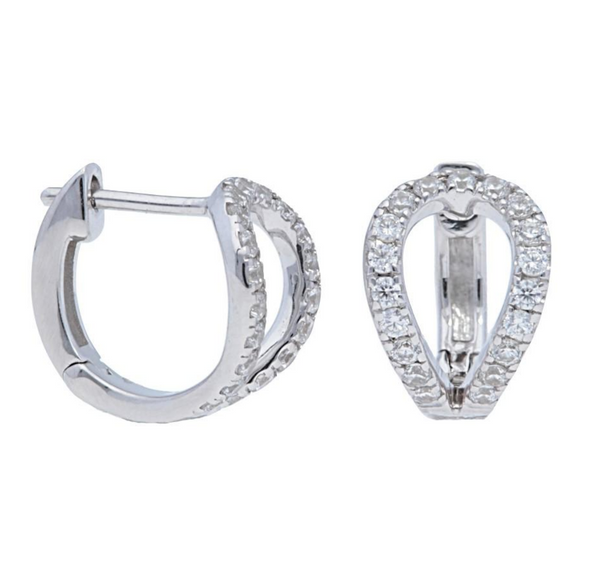 Pear Shaped Open Pave Huggie - Earrings - frannieb
