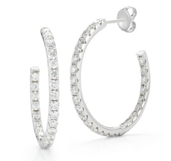 "1"" Diamond Hoop Earrings - Earrings - frannieb"