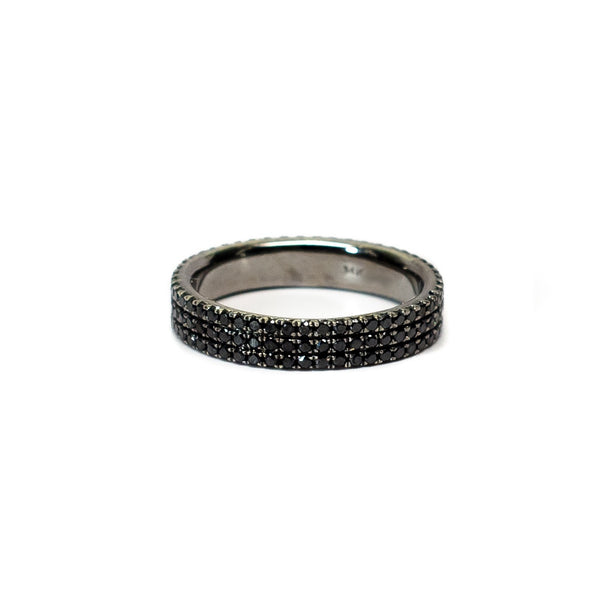 3 Row Micropave Black Diamond Band - Ring - frannieb