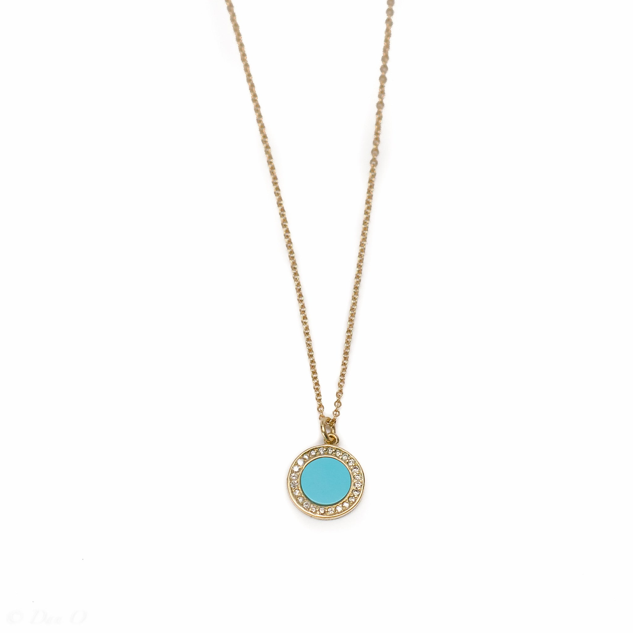 Diamond and Turquoise Circle Necklace
