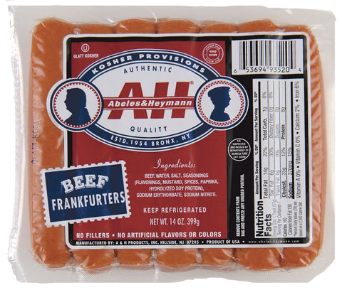 A & H All Beef Kosher Hot Dogs