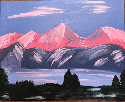 "Fri., Sept. 1, 7:00-9:30 ""Alpenglow""  Public Wine and Painting Class, Bozeman, MT"
