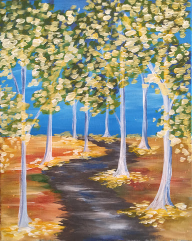 "Wed, Aug 30, 7:00-9:30 ""Autumn Path"" Public Wine and Painting Class, Bozeman, MT"
