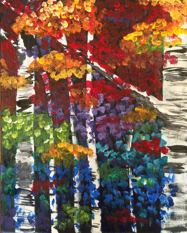 "Fri., Sept. 29, 7:00-9:30 ""Birch Forest""  Public Wine and Painting Class, Bozeman, MT"