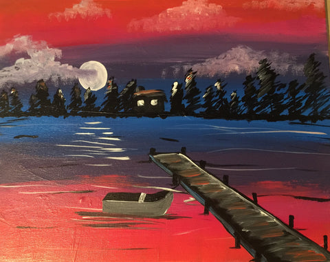 "Sun., Sept. 17, ""Cabin at the Lake""  Public Wine and Painting Class, Bozeman, MT"