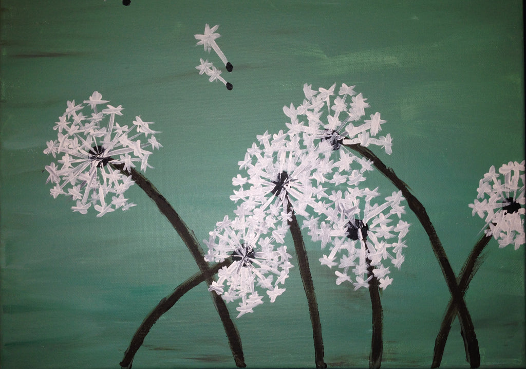 "Wed, Aug 2, 7:00-9:30 ""Dandelions in the Wind"" Public Wine and Painting Class, Bozeman, MT"