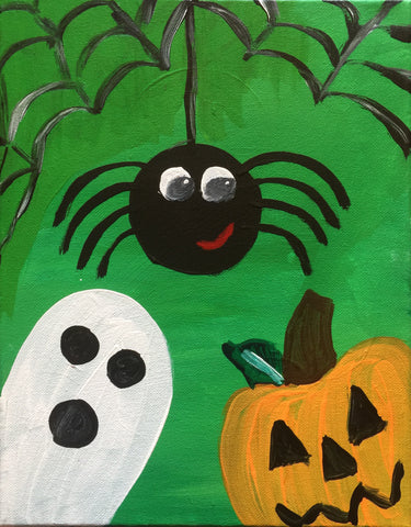 "Sun., Oct. 15, KIDS/FAMILY PAINT ""Happy-Halloween"" Public Wine and Painting Class, Bozeman, MT"