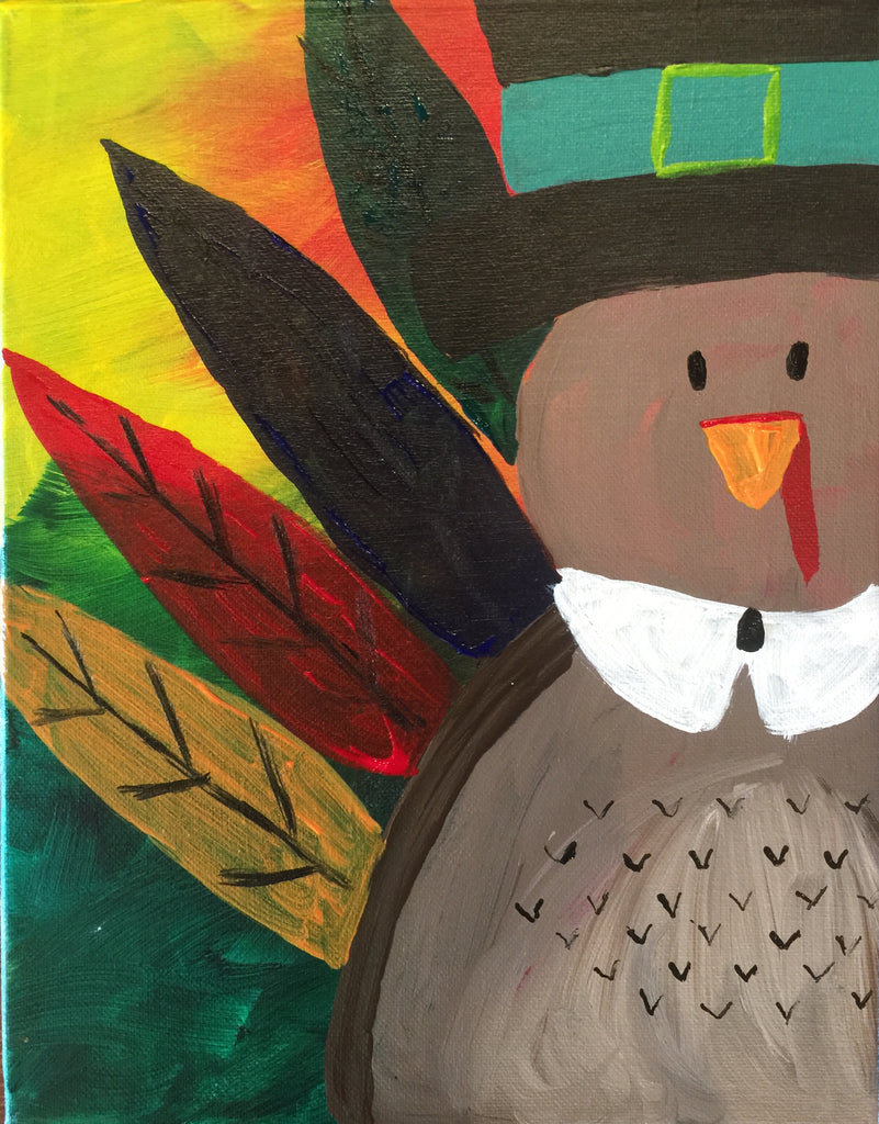 "Sat., Nov. 18, KIDS/FAMILY PAINT ""Happy Turkey Day"" Public Wine and Painting Class, Bozeman, MT"
