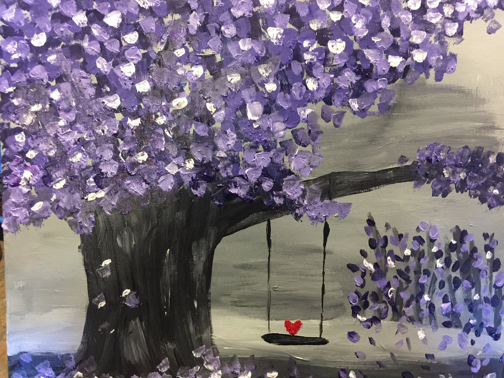 "Wed., Nov. 15, 7:00-9:30 ""Lavender-Forest"", Public Wine and Painting Class, Bozeman, MT"