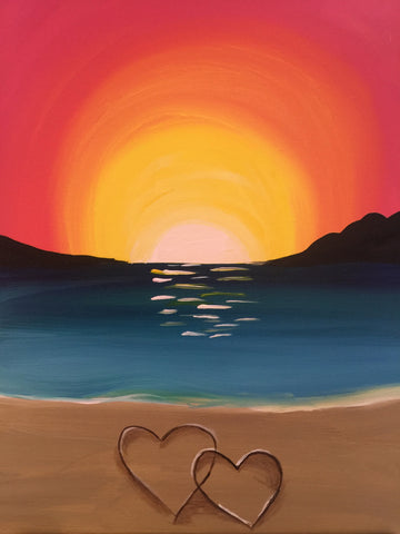 "Fri., Oct. 20,  7:00-9:30 ""Love on the Beach"" Public Wine and Painting Class, Bozeman, MT"