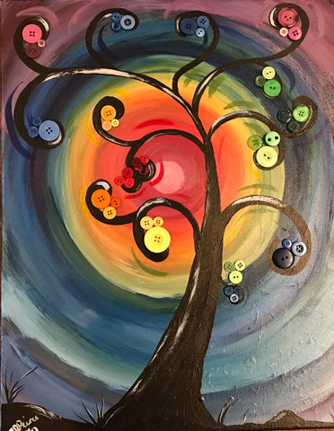 "Thur., Oct. 5, COFFEE CREW, 9:30am-12:00 ""Rainbow Buttons"" Public Wine and Painting Class, Bozeman, MT"