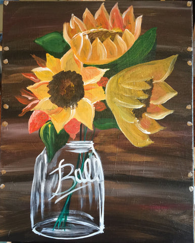 "Sat., Oct. 14 , 7:00-9:30 ""Sunflowers"" Public Wine and Painting Class, Bozeman, MT"