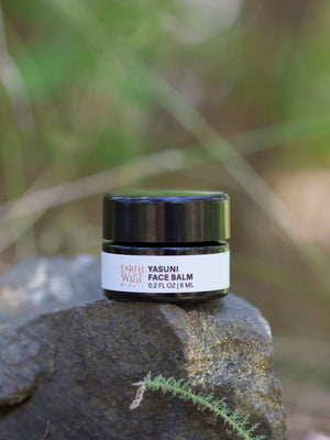 Yasuni Face Balm 30 ml 1 oz jar displayed on a raw piece of copper by Earthwise Beauty
