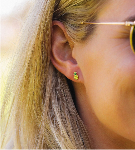 Pura Vida Pineapple Stud Earring