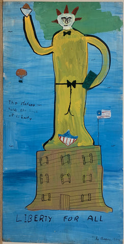 A painting by the Beaver of the Statue of Liberty in yellow with spiked hair.