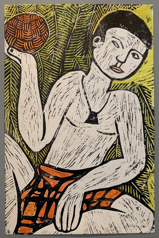 woodblock print of a man in a grass skirt holding a ball