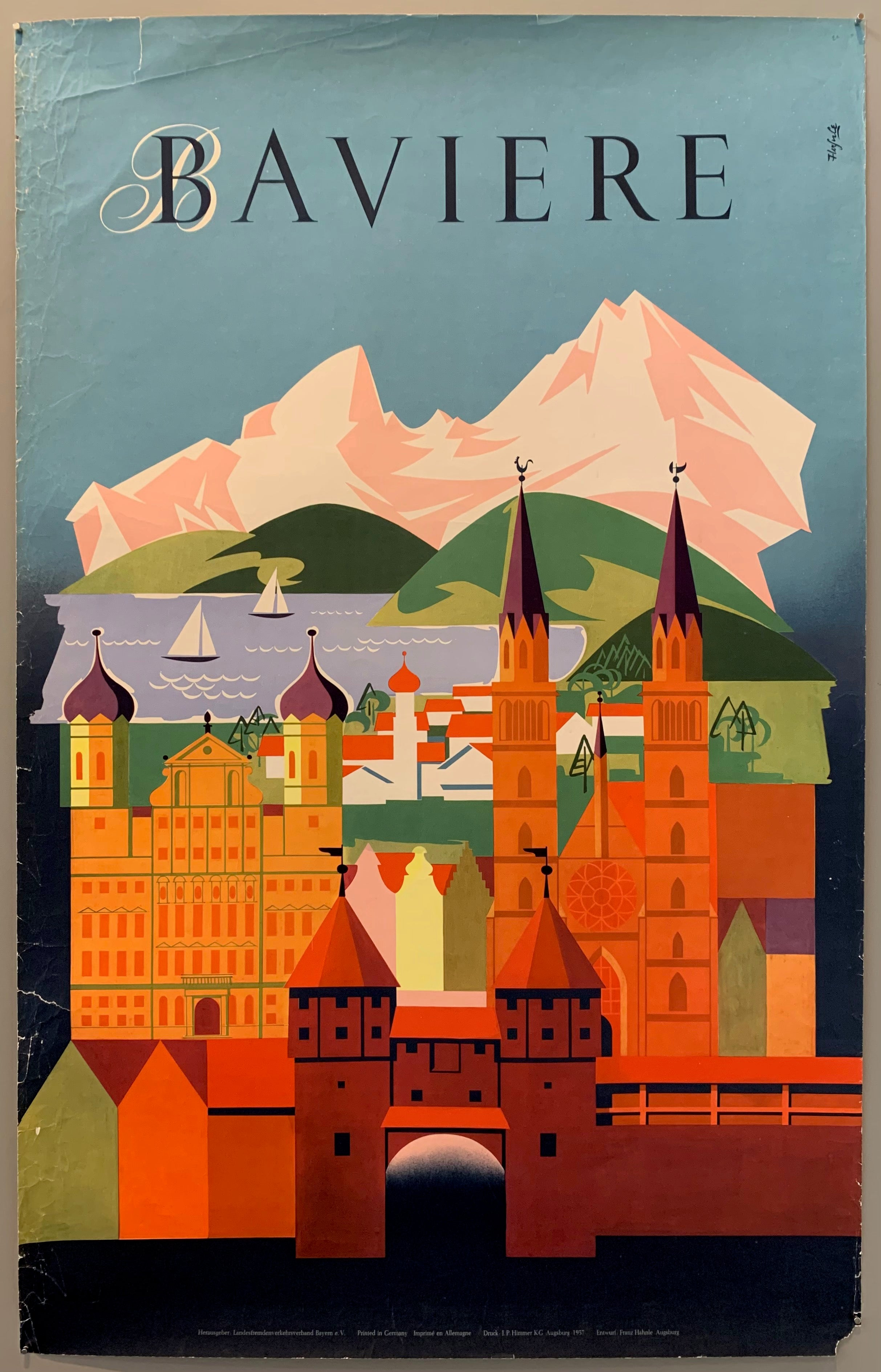 Original German tourist poster for holiday pleasures in Bavaria. Poster shows a Bavarian town setting with alps in the background.  Bavaria has a unique culture, largely because of the state's Catholic majority and conservative traditions. Bavarians have traditionally been proud of their culture, which includes an own language, cuisine, architecture, festivals such as the famous Oktober Beerfest and elements of Alpine symbolism.