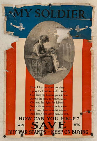 A poster of a child praying at her mother's feet, overlayed on an American flag
