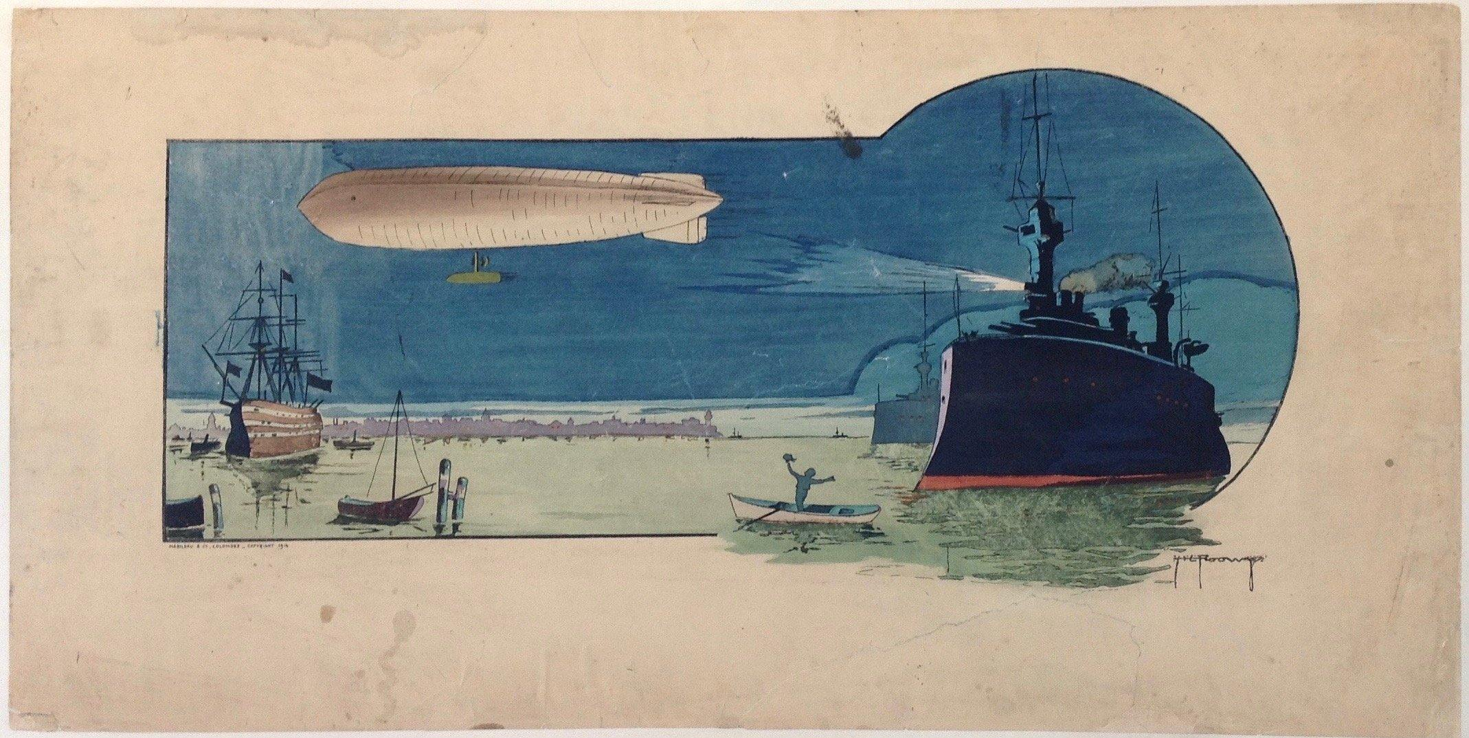 Gamy-Montaut, Zeppelin Night Scene with Battleships - Poster Museum