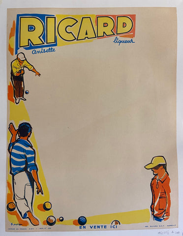 Poster for Ricard liqueur featuring a game of petanque