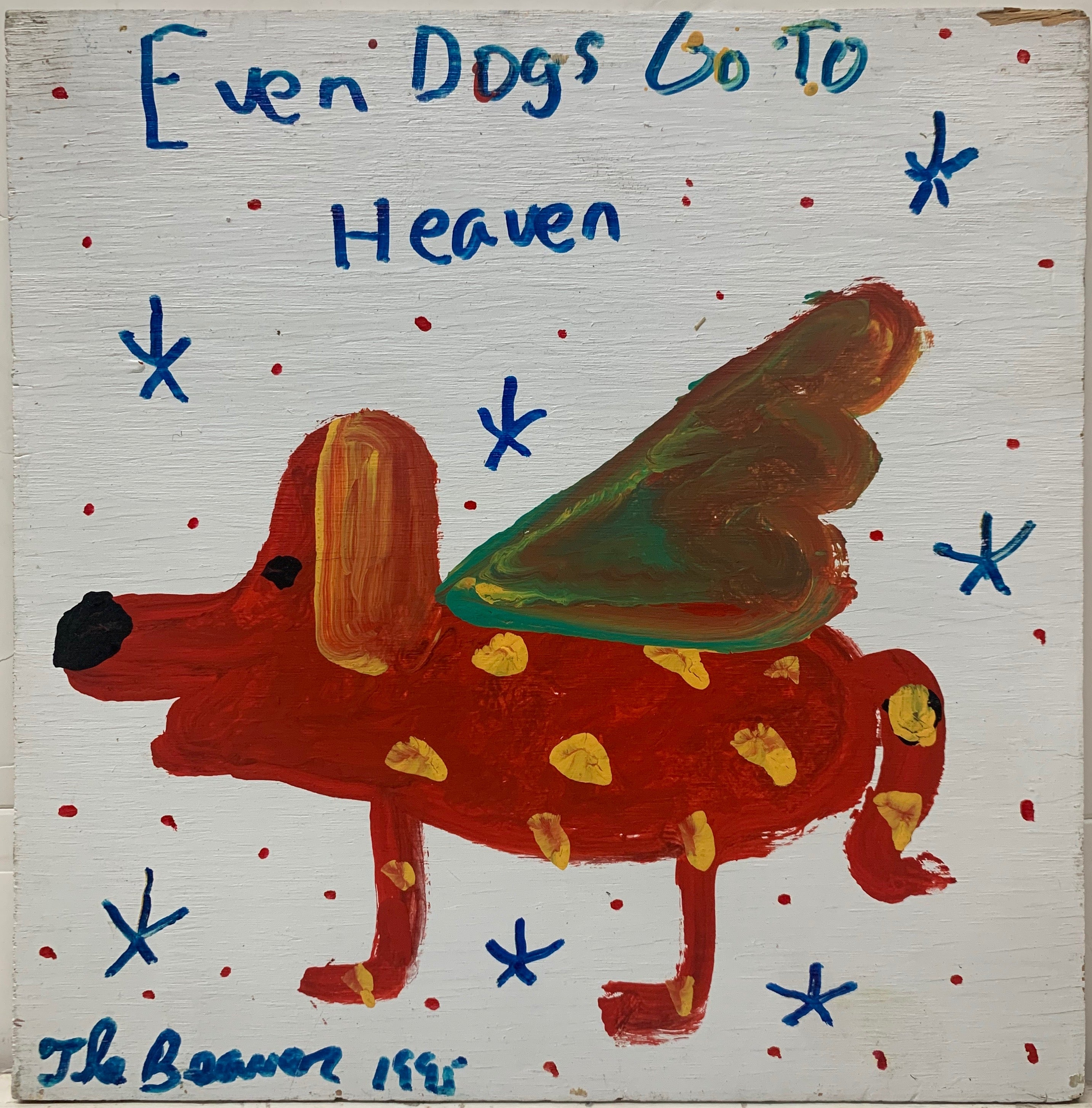 A painting by the Beaver of a red dog with green wings and yellow polka-dots flying in a sky with blue stars.