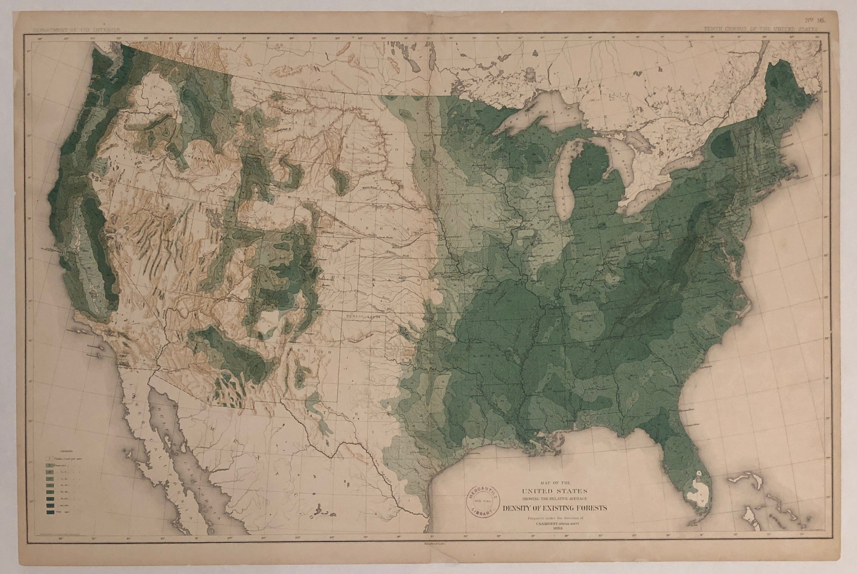 Map of the United States Showing The Relative Average Density of Existing Forests Poster