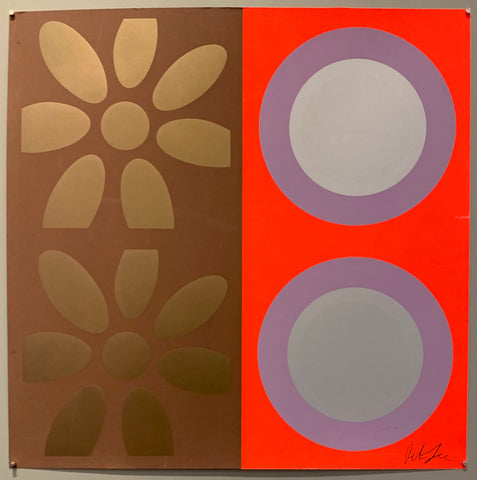 A square of four large motifs on paper. The colors are brown with gold flowers, the other is neon orange with purple and silver targets.