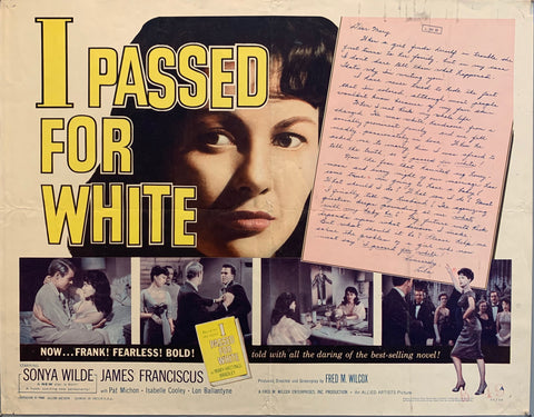 I Passed for white movie poster woman's fae next to handwritten note