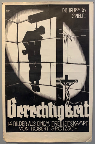 Poster is in black and white and shows a graphic of Jesus on a cross looking up at a projected shadow of a hung man.