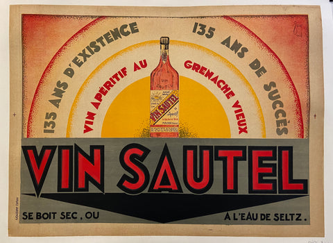 Poster for Vin Sautel showing a bottle of wine before a rising sun